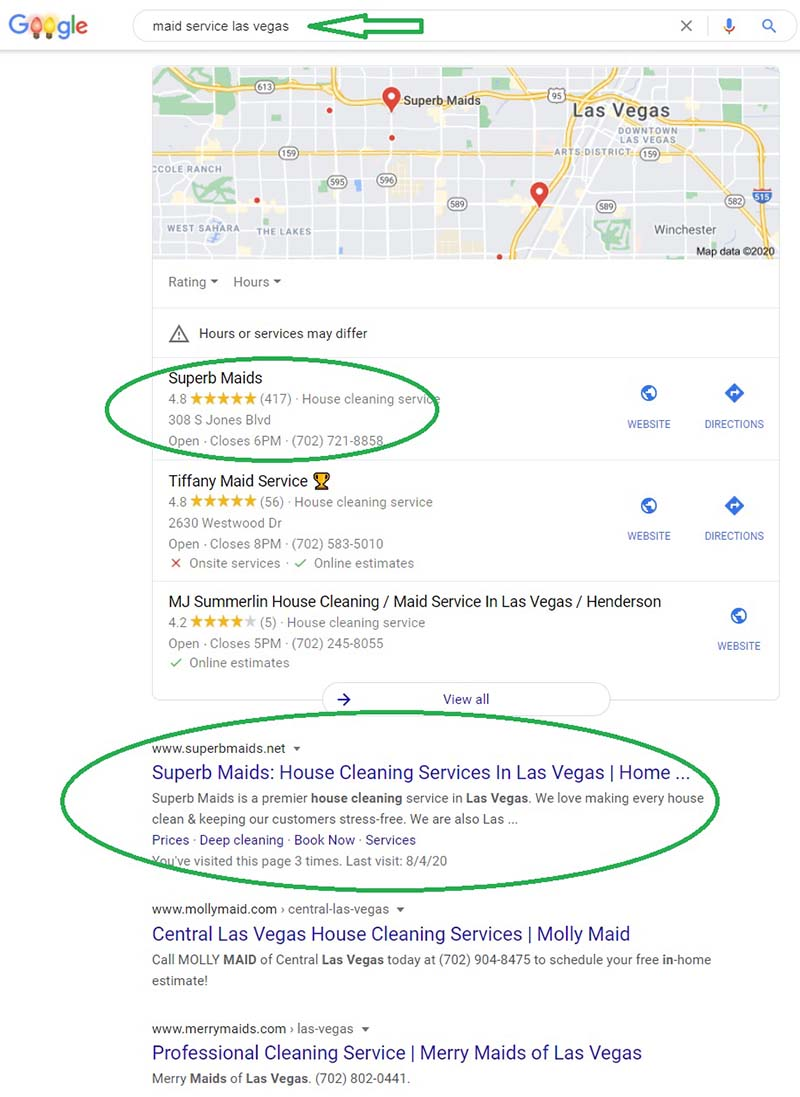 Google search result showcasing the impact reviews have on ranking
