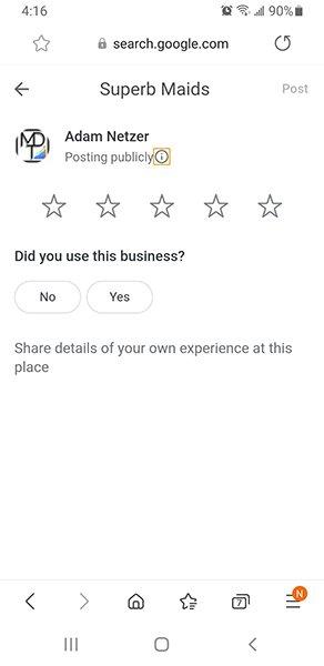 Superb Maids Google Review Screenshot