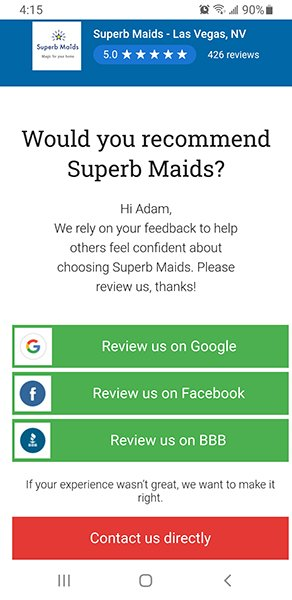 Superb Maids Review Options Screenshot