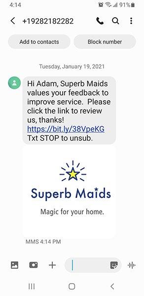 Superb Maids Review Request Screenshot
